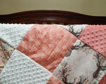 Deer Baby Girl Blanket - Fawn, Flowers, Coral Arrow, Coral Minky, and White Minky Patchwork Blanket