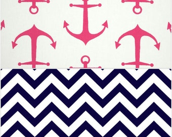 Cart Cover- Reversibe Pink Anchor and Navy Chevron Highchair/Cart Cover