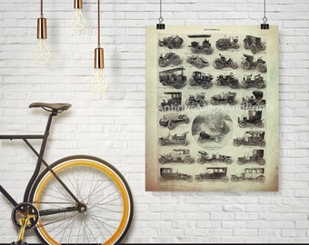 Antique Cars Trucks Buses Oversized Poster Print 8x10 to 30x40 Late 1800s Repro Larousse