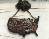 Vintage Metal Love United States, USA, Handmade by Okrrah, Free Shipping