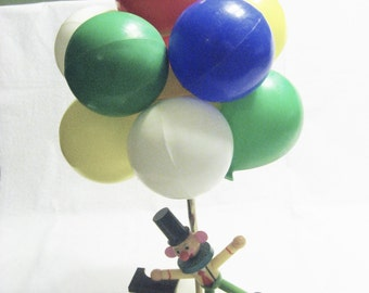 Clown with Balloons and Dog 3 Way Nursery Lamp Vintage 1970s Childs Room Lighting