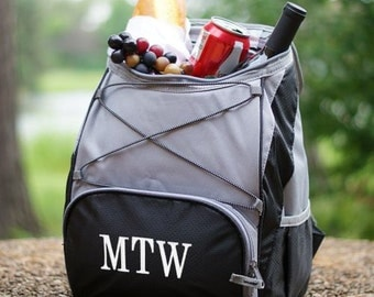 Embroidered Cooler Backpack Black Grey Red Grey Tailgate Golf Fishing Groomsmen Gift