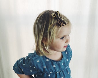 Leopard Print Leather Bow, Headband, Baby, Toddler, Girl, Clip