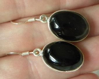 "Onyx Earrings Handmade Earrings Black Onyx Semiprecious Gemstone Earrings 1 1/4"" Sterling Silver Earrings Take 20% Off Black Onyx Jewelry"
