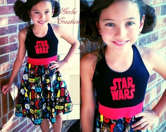 Girls STAR WARS Dress, Girls Dress, Star Wars, Aurora Dress, Princess Leia, Luke Skywalker, Obi Wan, Han Solo - Available 2y - 12y