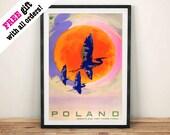 POLEN REISE POSTER: Vintage Polnischen Kran Tourismus Anzeige, Kunstdruck Wand Hängen