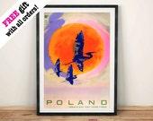 POLEN REIZEN POSTER: Vintage Poolse Crane Toerisme Advertentie, Art Print Muur Opknoping