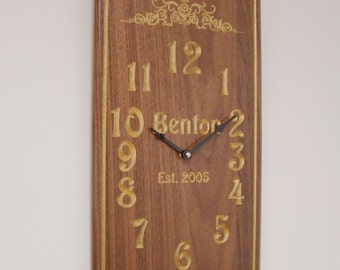 Personalized Solid Walnut V-Carved Wall Clock.  WC-7  Free Shipping.