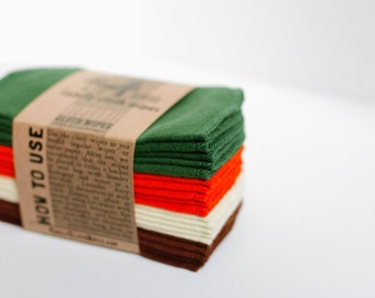 Cloth Wipes, Cloth Diaper Wipes,  Reusable Cloth Wipes -  (Solid Forest Green, Sunset Orange, Cream, Brown) - Single Layer