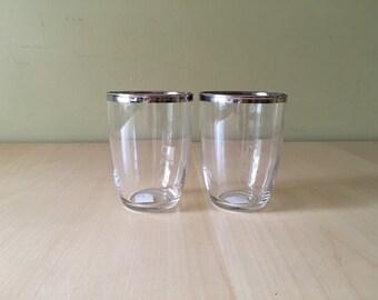 Vintage Mid Century Modern Silver Rimmed Water Glasses Set of 2
