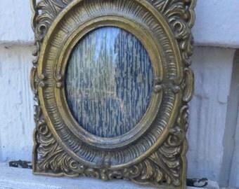 Mini Frame Antiqued Brass Vintage Regency Look