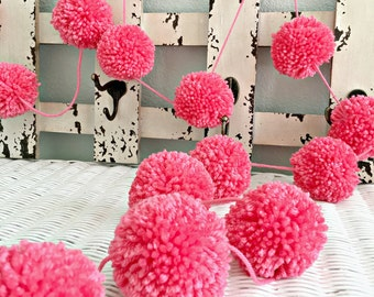 Pom Pom Garland CORAL Yarn -  Birthday Pom Pom Garland - Decoration - Baby - Bridal Shower Garland - Birthday Pom Pom Garland Holiday Decor