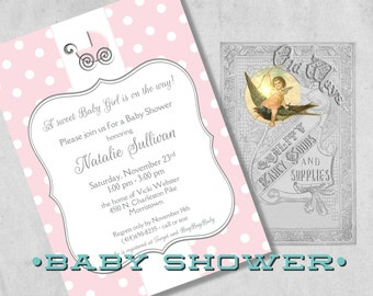 Printed Pink and White Polka Dot Baby Shower Invitations for a Girl with Baby Buggy, Carriage - Custom Cute Girl Shower Invites