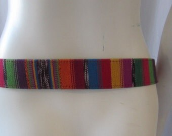 Belt made in Guatemala Leather and Woven Cloth multi color size S/M