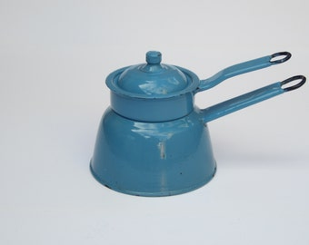 Blue French Enamel Double Boiler