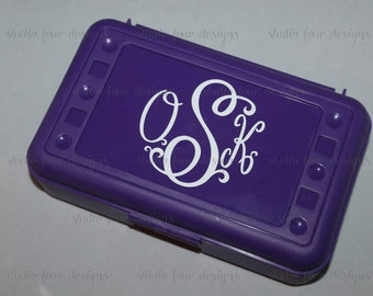 Pencil Box - Monogrammed Pencil Box/ Art Supply Holder - Back to School Supplies - Most Popular Back to School Gift - Scroll Monogram font