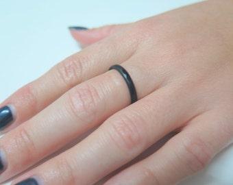 Gemstone Stacking Rings, Hypoallergenic Jewelry, Black Gemstone Ring, Black Agate Ring, Minimal Stacking Ring, Black Stacking Ring, Black
