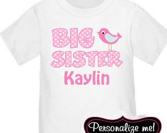 ON SALE Big Sister Bird Personalized T Shirt