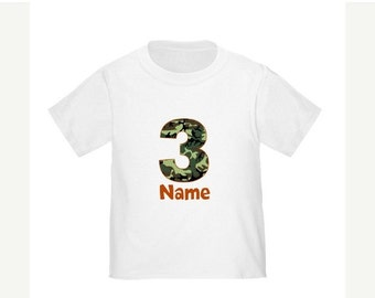 ON SALE Camo Personalized Birthday Shirt Camoflauge Birthday T-shirt - Any Age