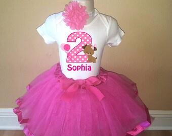 Girls Hot Pink Puppy Birthday Personalized Shirt Tutu Headband Set - ANY Age