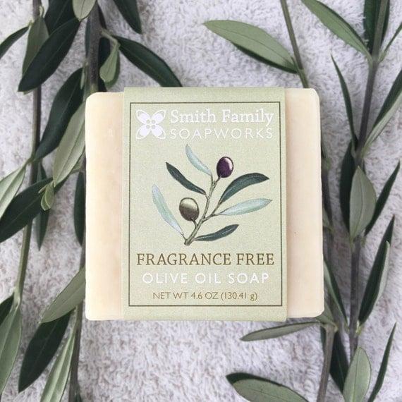 Fragrance Free Soap -  Natural Soap, Handmade Soap, Olive Oil Soap Bar, Unscented Soap, Cold Process Soap
