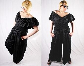 1970s Disco Style Black Velvet Polka Dot Jumpsuit