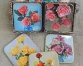 """Win-El-Ware """"Roses"""" Coasters  ~  Win-El-Ware Coasters in Original Box Made in England  ~  Win-El-Ware Roses Coasters  ~ Rose Garden Coasters"""