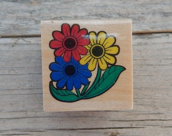 Flowers Rubber Stamp  ~  3 Flowers Rubber Stamp