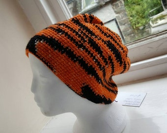 Beanie Hat  handmade crochet orange and black hand dyed yarn  - made in Wales UK