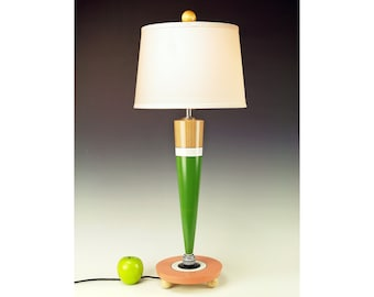 Contemporary whymsical lamp for side table, bedside or desk. 269. Hand painted. Green, clay, white, natural wood.