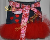 SALE - Size 3T Ready to Ship - Denim Tutu Skirt with cute heart appliques and Valentine themed ribbon