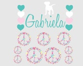 Monogram Decal- Name decal- Personalized Camp Trunk decals- heart decal- teen decals- peace decal- camp trunk decals- vinyl wall decals