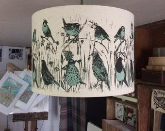 Hand printed organic hemp cloth 'Hedgerow' lampshade