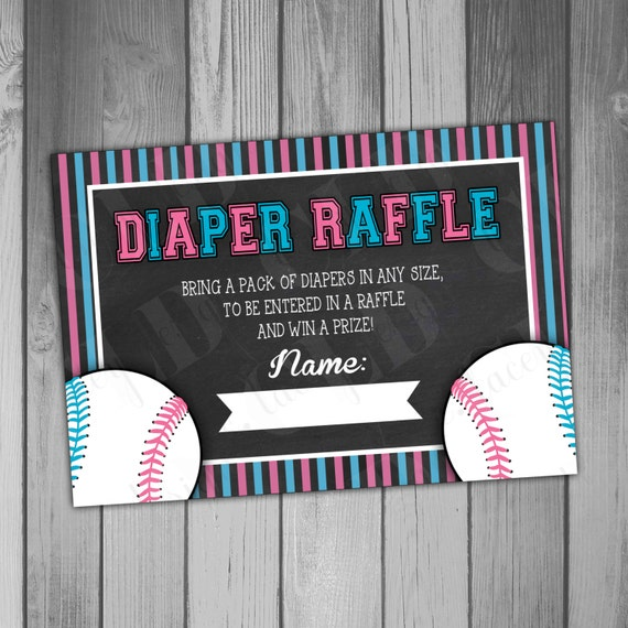 Baby Shower Diaper Raffle Ticket Baseball Gender Reveal