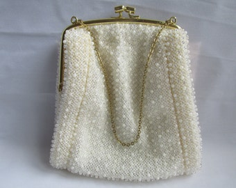 Small White Beaded Cloth Evening Bag Purse Ladies Clutch Chain Handle