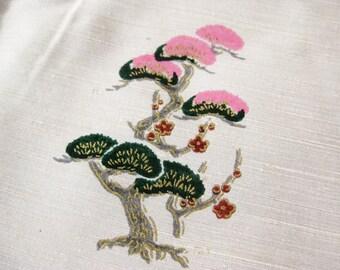Vintage 40s 50s Vintage Japanese Woven Silk Novelty Print Remnant 5 Yards