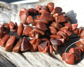 Sparkly Copper Brown Goldstone Stone Chip Beads, Shiny Chips, Full Strand Large Chips, Beading Supplies, Craft Beads