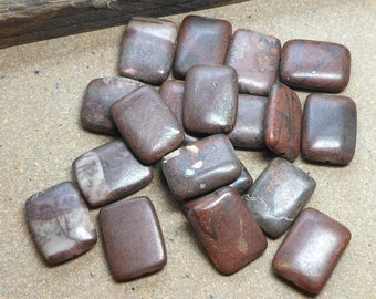 CLEARANCE 19 Rectangle Beads, Natural Landscape Stone, Brown, Rusty Brown, Creamy Whites, Black, 20mm, Craft Beads, Beading Supplies