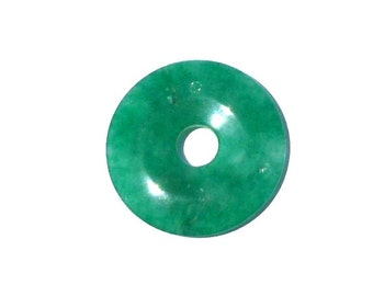 Stone Donut Pendant, Quartz Stone Dyed Green, 45mm, Flat Round Pendant, Supply Donut, Crafting Stone, Very Green, Light Greens