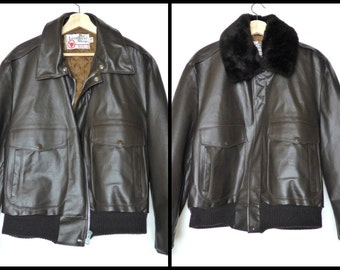 Vintage Mens Leather Bomber Jacket with Detachable Faux Fur Collar Size Large The Leather Shop Sears Dark Brown