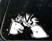 """CAR - Narwhal V Unicorn - Design 2 - Vinyl Car Decal Sticker ©YYDCo. (7.5""""w x 4.5""""h) (Color Choices)"""