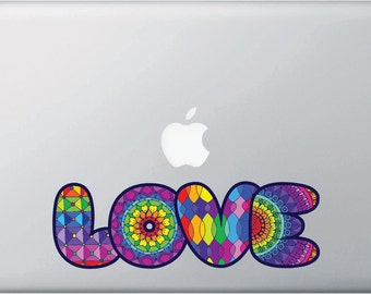 "CLR:MB - Love Rainbow Text -D1-  Vinyl Macbook Laptop Decal Sticker © YYDC. (8""w x 2.5""h) (Color Choices)"