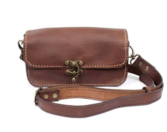 Small Leather Bag Cross Body With Adjustable Leather Strap  (BG7699-1C5)