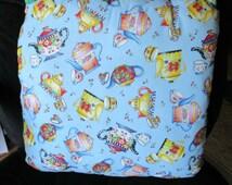 """TEAPOT PILLOW, little teapot pillow, Fabric and Crochet,Gift 18"""" x 18"""" Handmade"""