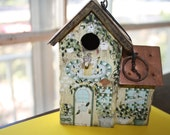 Birdhouse Ornament, Tiny Decorative Metal Roof Wooden House Painted Wood Shabby Chic Ornament