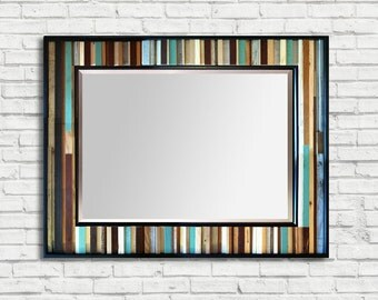 "Reclaimed Wood Framed Mirror - ""Reclaimed Reflection"" - 40"" x 34"" - Modern Wood Wall Art - Reclaimed Wood Mirror"