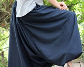 Blue cotton harem pants, yoga pants, Men's Women's long comfy trousers, Baggy, Loose fit, Drop crotch, Low crotch, Plus size harem pants