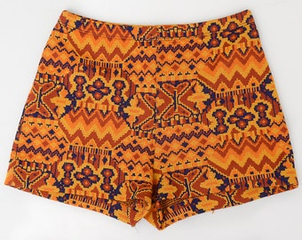 60s Tribal Hot Pants Bohemian Turkish Carpet Design Psychedelic High Waisted Booty Shorts