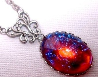 Dragons Breath Necklace - Mexican Opal Necklace - Fire Opal - Galaxy - Christmas Gift