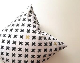 20 inch throw pillow, Swiss Cross pattern, black, metallic gold, and white. Riley Blake Four Corners, Cotton, indoor use. Geometric print.